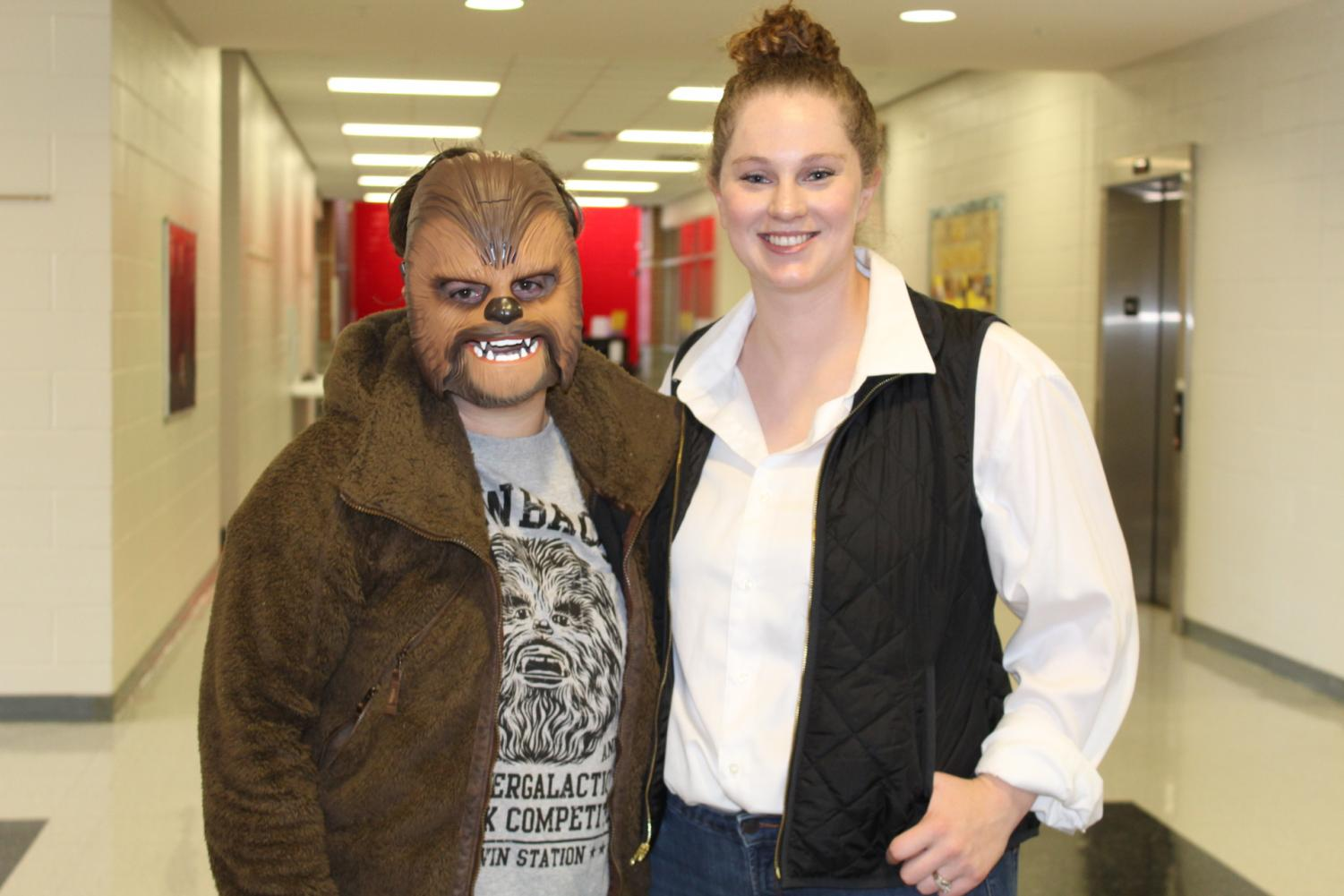 Mrs.+Hubrel+and+Mrs.+Fenix+dress+as+Han+Solo+and+Chewbacca+for+Dynamic+Duo+day.%0A